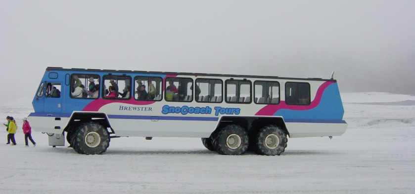 Foremost Terra Bus, at Athabasca Glacier, Canada. BrewseterSnowCoach3962
