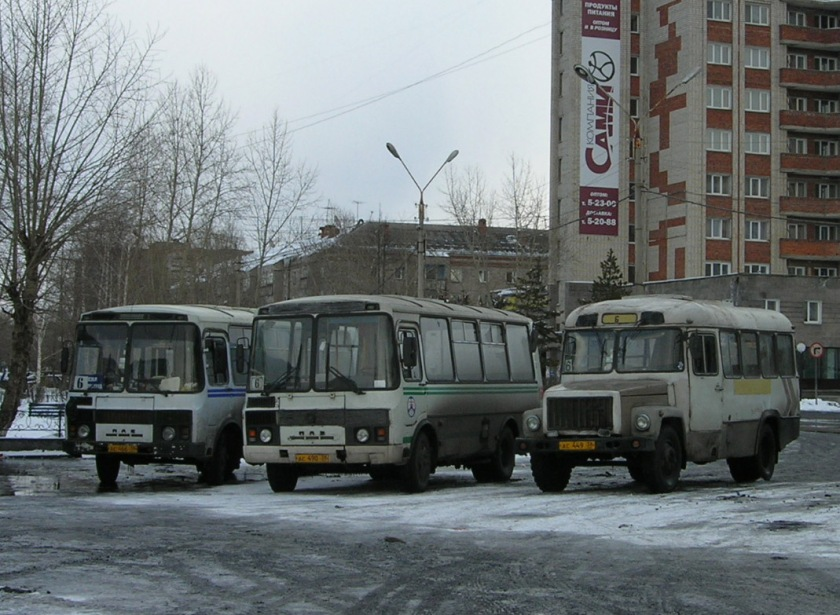 KAvZ bus (right) in Ust-Kut, Irkutsk oblast', Russia