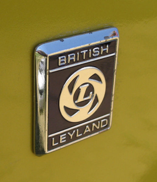 0 A small British Leyland badge on one of their many products.