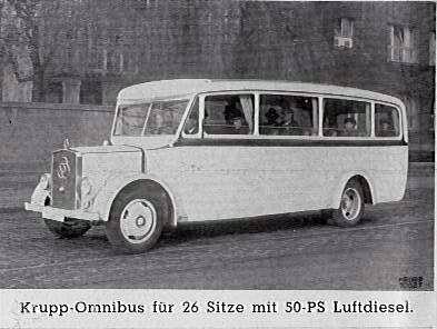 1934 Krupp model 26-seater bus, 50hp Diesel, 21k b-w
