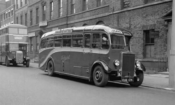1937 Duple C33F body in Park Lane, Leeds, is a Leyland TS7