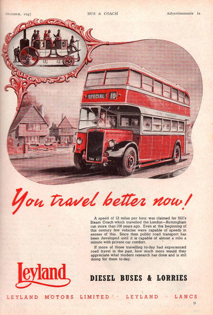 1947 Leyland Motors bus advert - You travel better now!