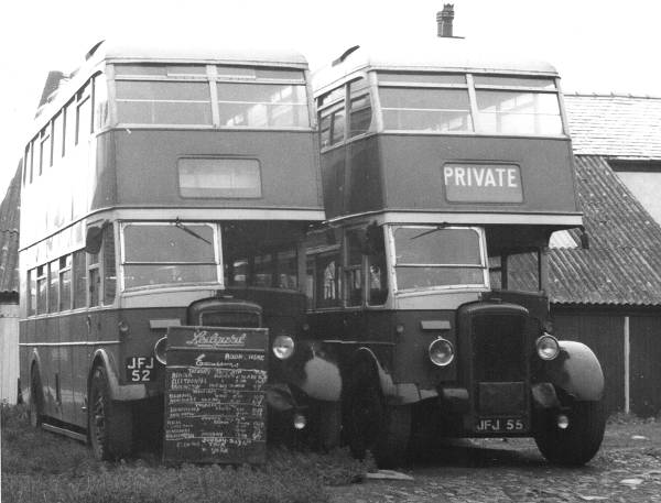 1948 JFJ52 and JFJ55 resting on the forecourt of Ilkley depot prior lgjfj52