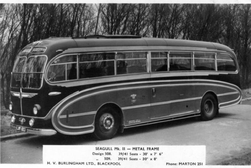 1953 Leyland Royal Tiger PSU1-15 H.V. Burlingham C37C seats 1953 - 1970