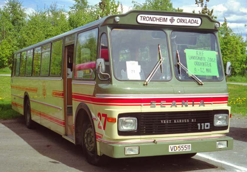 1973 VD55511 is a Scania B110-63 with 43-seat bodywork by Vest Karosseri.