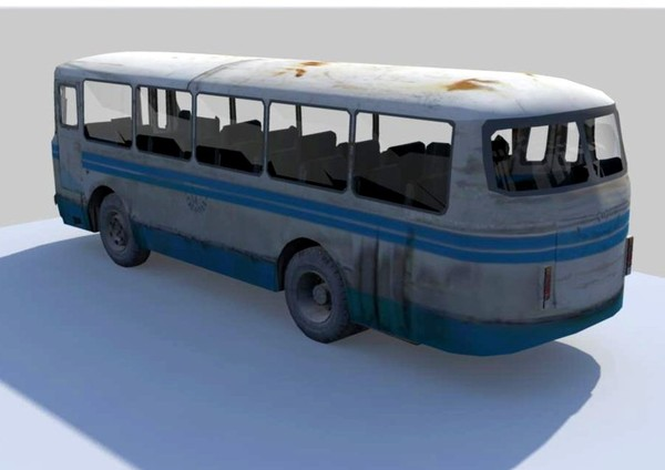 LAZ 3d model old bus laz