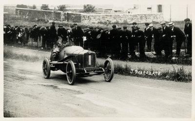 1914 Motorcar no.1 Jean Porporato in a Minerva , 1914 Tourist Trophy motorcar race