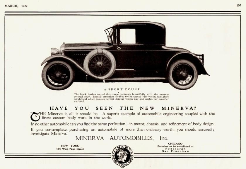 1922 Minerva Automobiles Ad