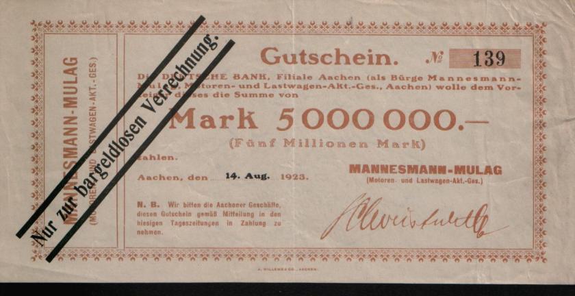 1923 Notgeld Mannesmann-Mulag