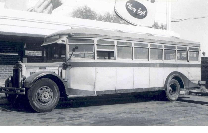 1930 Mack 6-BC-3S bus at Garage