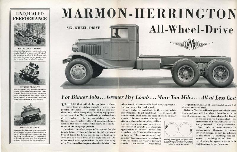 1933 brochure Marmon-Herrington 6x6 truck