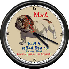 1936 Mack Truck Driver Bulldog Service Bull Dog Advertising Sign Wall Clock