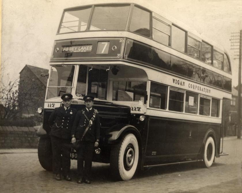 1938 Leyland Massey body Wigan to Abbey Lakes bus at the Abbey Lakes Terminus 1938