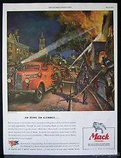 1944 Mack Truck Fire Engine Burning House Peter Helck Art Vintage Print Ad