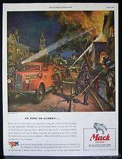 1944 Mack Truck Fire Engine Burning House Peter Helck Art Vintage Print Ad
