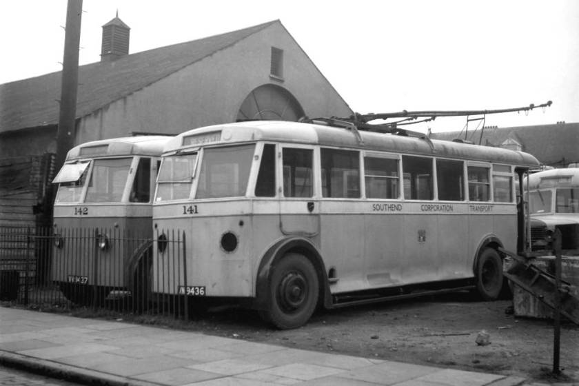 1945 Leyland TB3's with Massey B32R bodies, new to Teeside in 1936 and acquired by Southend in 1945