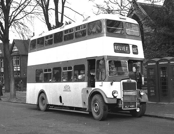 1946-7 of ten Leyland PD1s with Birch L28-25F bodies. Seven of them received new MCCW H30-26R bodies in 1956-7