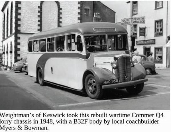1948 Commer Q4 lorry chassis with B32F body from Myers&Bowman