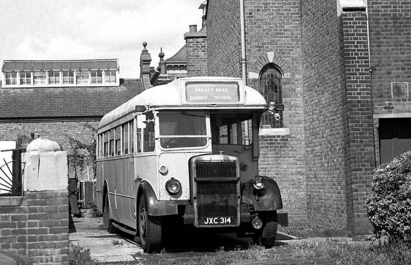 1948 JXC314 Ex London Transport TD121 in Treaty Road, Hounslow, Middx., when owned by Hounslow Evangelical Church