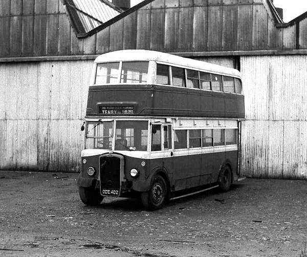 1950 Bristol K6G had not been bodied until July 1952 fitted with a 1940 Metro Cammell FH32-28R body ex-Birmingham trolleybus 83.