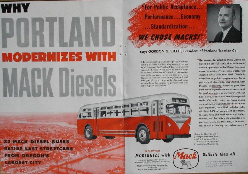 1950 Portland Traction Mack Diesel Advertisement.1