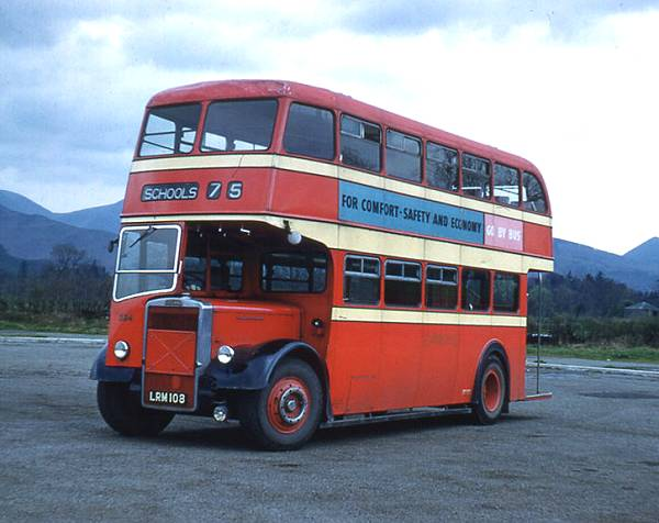 1952 Cumberland Motor Services 334, LRM108, a Leyland PD2-12 with Leyland L27-26R body