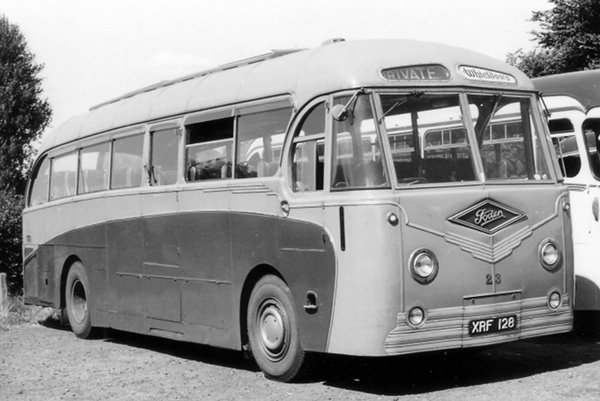 "1952 Foden PVRF6 with Metalcraft's ""British"" coach body, XRF 128, delivered in 1952"