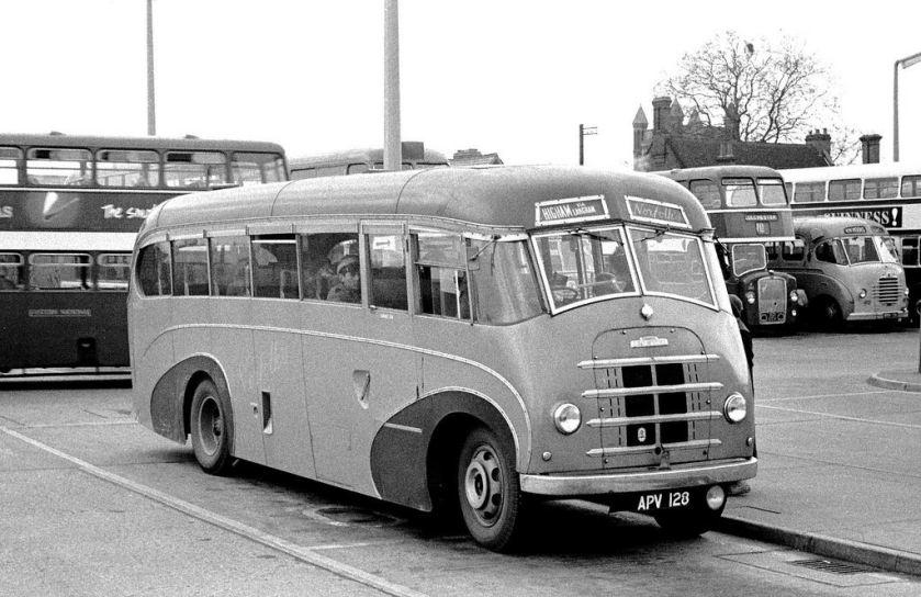1952 Norfolk, Nayland APV128 Austin CXD Mann Egerton FC32F in Colchester Bus Station