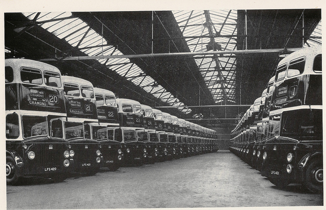 1954 Edinburgh Corporation Transport - line up of new Leyland Titan PD2-20 buses, with MCW bodywork, 1954