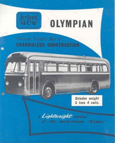 1954 Leyland MCW Olympian Transit Bus Brochure & Specs wk3586-ZLNAZP