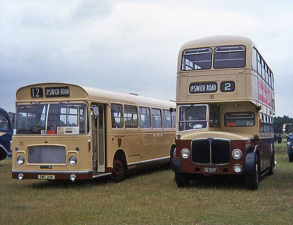 1957 Bristol RELL ECW B53F, new May 1972, and 18, 1296F, AEC Regent V Massey H33-28R body 1957