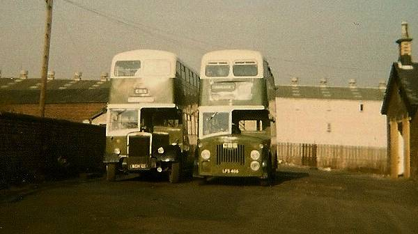 1957 Leyland Titan PD2-12 with MCW body KCH101, of 1957 alongside former Edinburgh Leyland Titan PD2-20 also with MCW body, LFS466.