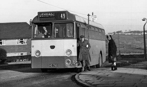 1961 Yorkshire Woollen District 241, GHD760, was an AEC Reliance with Marshall B43F body
