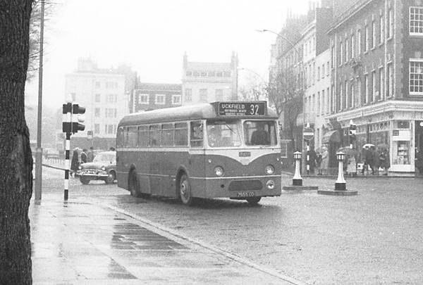 1962 Southdown 655, 7655CD, the first of a batch of 10 Leyland Tiger Cub PSUC1-1 with Marshall B43F bodies, new in April 1962