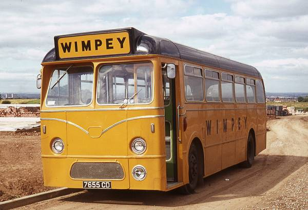 1962 Wimpey, contractor, 7655CD, a Leyland Tiger Cub PSUC1-1 from 1962 with Marshall B43F bodywork