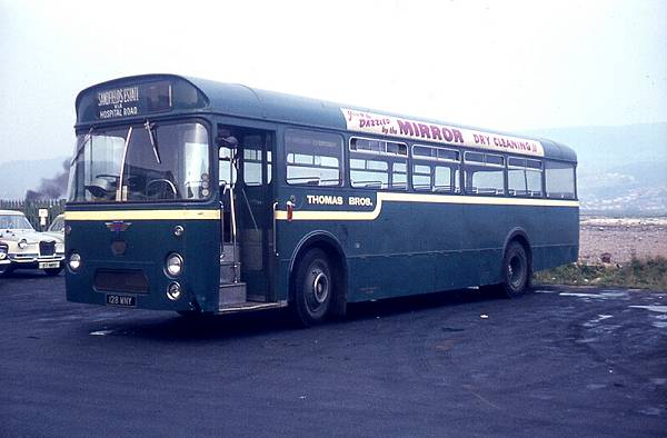 1964 AEC Reliance 128WNY of Thomas Bros., Port Talbot, seen in the original blue-green livery, was one of three with Marshall B53F bodies