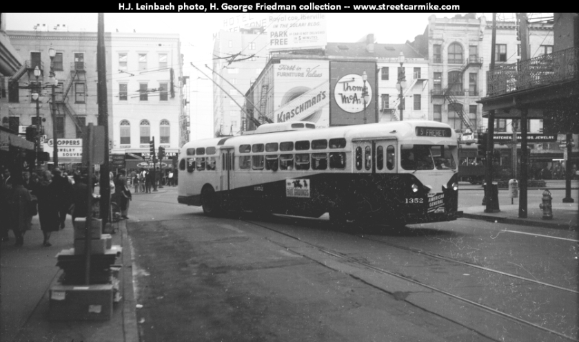 1964 Marmon 1364 on the Jackson line upbound at Baronne and St. Joseph Sts. (Howard Ave.) on November 28, 1964