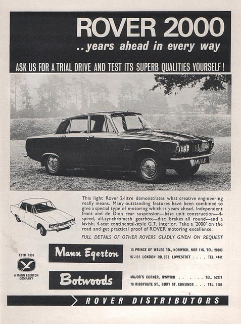 1964 Rover 2000 P6 ad