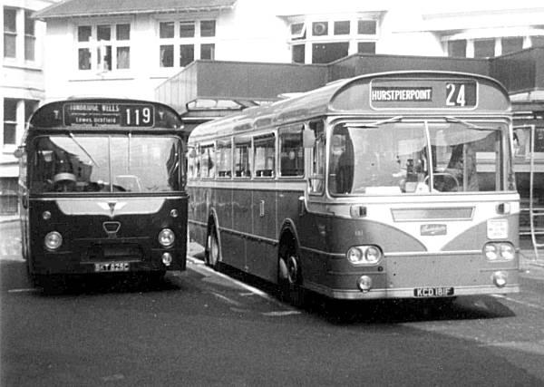 1965 AEC Reliance 2U3RA with a Marshall B53F body, next to Southdown 181, KCD181F, a 1967 Leyland Leopard PSU3-3R Marshall B45F