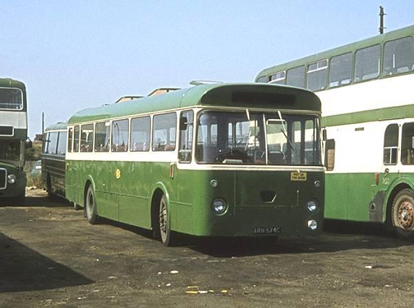 1965 Bedlington & District ARN574C (formerly Ribble 574), a Leyland Leopard PSU3-1R with Marshall B53F body