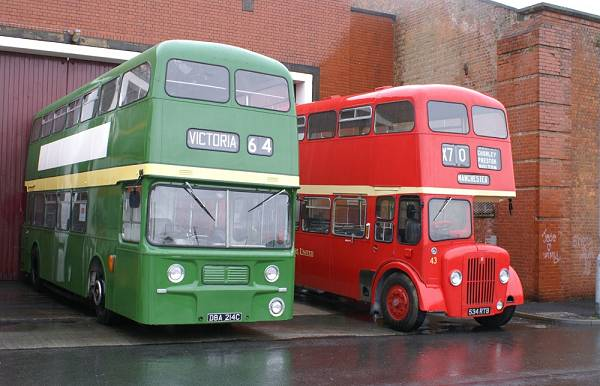 1965 Leyland Atlantean PDR1-1 with MCW bodywork and Lancs United 43, 543RTB, a 1961 Guy Arab IV also with MCW bodywork