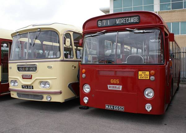 1966 Leyland Leopard PSU4A-4R with 44 seat Marshall bodywork Next to 665 is Harrington coach body 1961