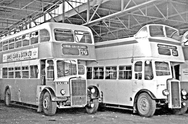 1966 Southend Leyland PD2-Massey 289, LHJ391 and one of the Daimler open toppers in the depot ss289