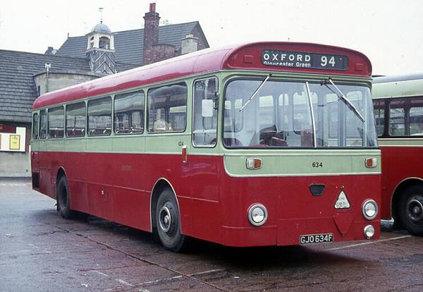 1967 City of Oxford 634, GJO634F, was an A.E.C. MP2R Swift, one of five with Marshall B53F body