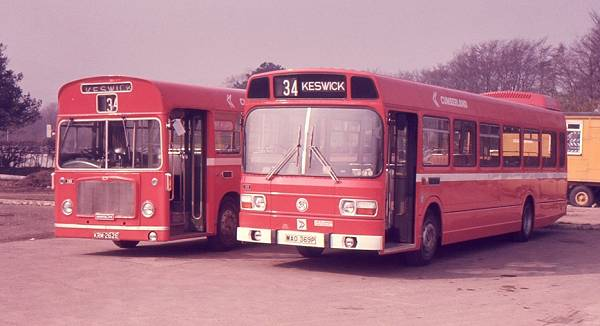 1967 Cumberland Motor Services 256, KRM262E, a Bristol RELL6L with ECW B53F body, and 369, MAO369P, a new 52 seat Leyland National