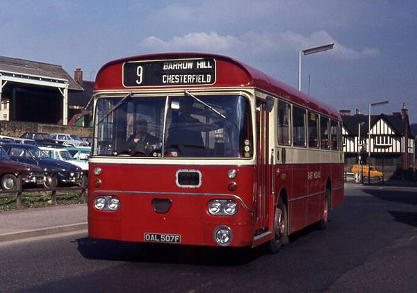 1970 East Midland Marshall B45F bodied AEC Swift O507, OAL507F, seen on a Chesterfield service.