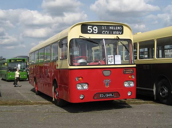 1971 Former St Helens Corporation 248, EDJ248J, an AEC Swift with Marshall B44D body