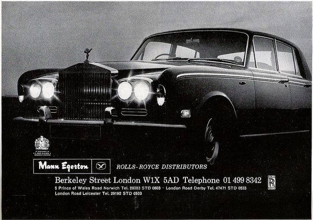 1971 MANN EGERTON - LONDON ROLLS ROYCE ADVERT
