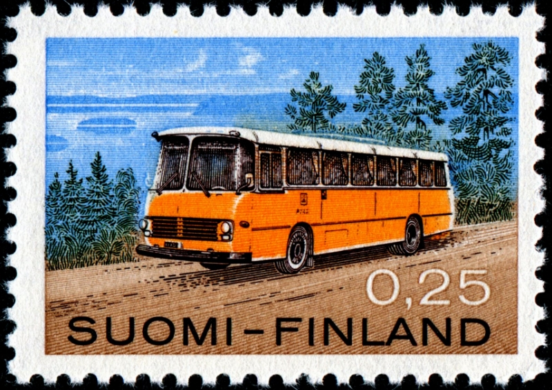 1971 Volvo Post bus, designed by Paavo Huovinen, combined engraved and lithography, and issued by Finland on November 18, 1971 - kopie