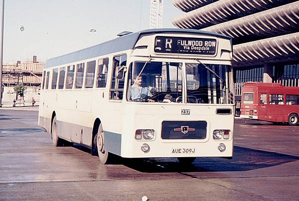1973 Preston 237, AUE309J, one of a batch of Marshall Camair bodied Leyland Panther buses